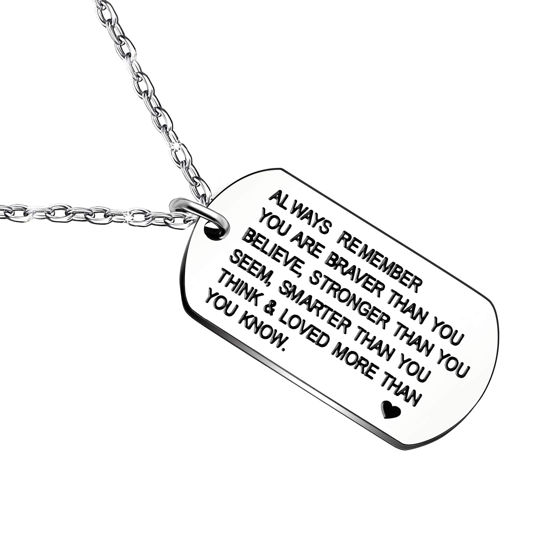 lauhonmin Always Remember You are Braver/Stronger/Smarter Than You Think Pendant Necklace Family Friend Gift Unisex (Style B Stainless Steel)