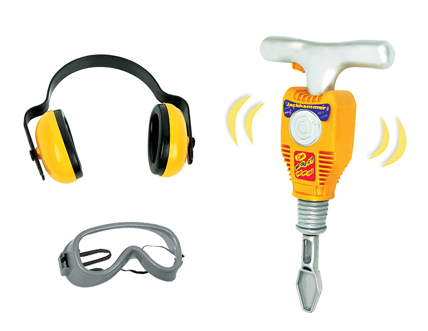Junior Engineer Jackhammer Toy Construction Tool Drill with Earmuffs, Safety Goggles, and Accessories Liberty Imports