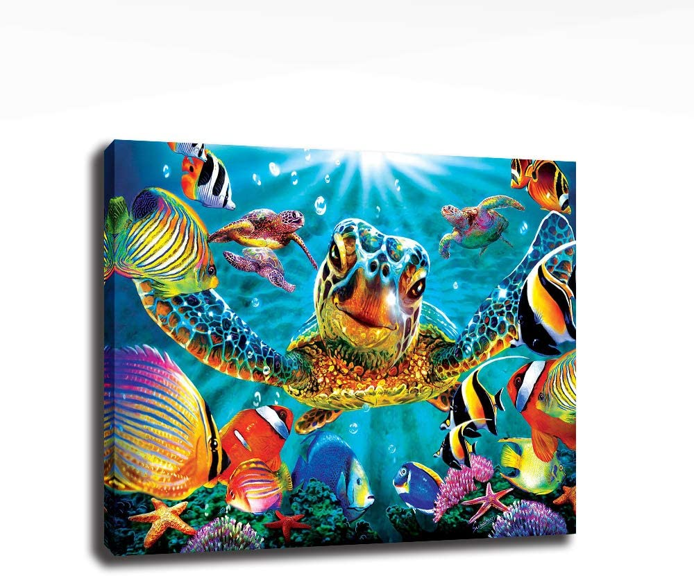 AGCary Bathroom Wall Canvas Art Decor Sea Turtle Painting Pictures Print on Canvas prints Easy to Hang Wall Decor for Living Room Bedroom Decoration Poster Modern Home Decor Artwork 12x16