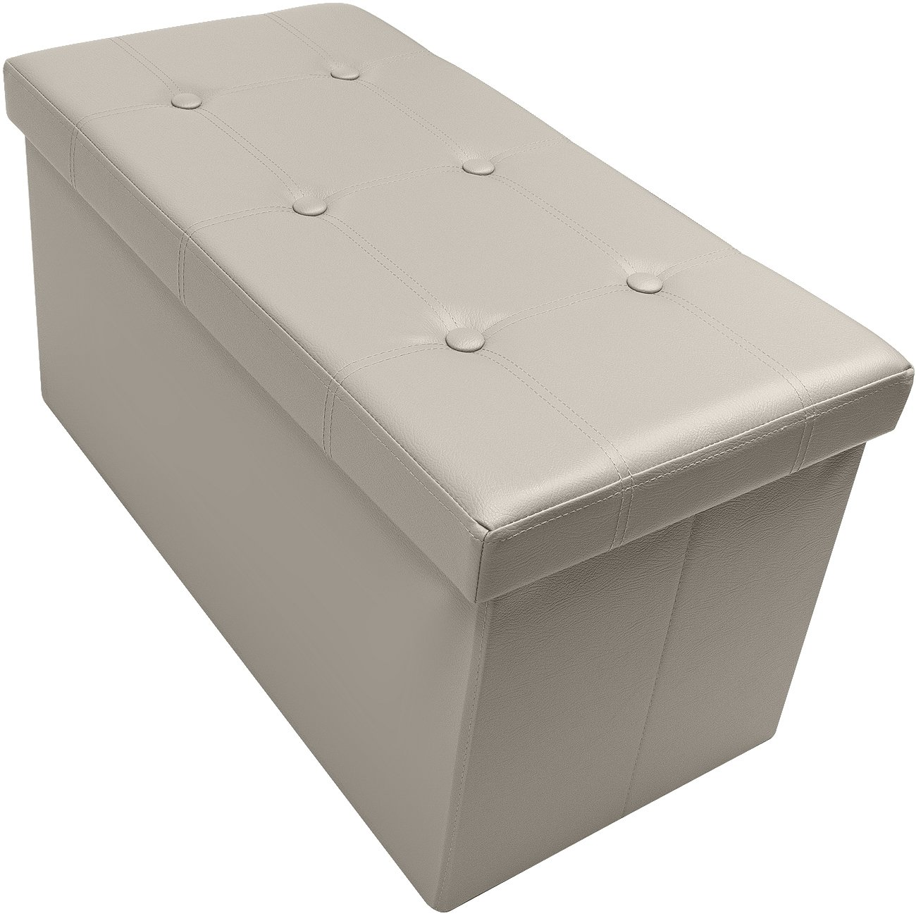 Sorbus Storage Bench Chest – Collapsible/Folding Bench Ottoman with Cover – Perfect Hope Chest, Pouffe Ottoman, Coffee Table, Seat, Foot Rest, and more – Contemporary Faux leather (Medium, Beige)