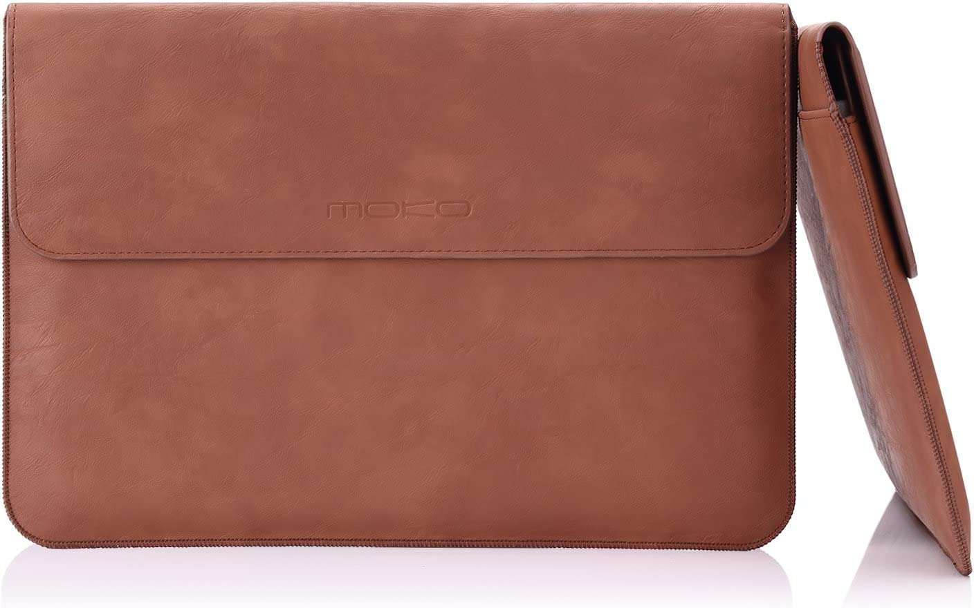 MoKo Laptop Sleeve Fits MacBook Pro 16 Inch 2019, PU Leather Envelope Case for MacBook Pro 15 inch, Water-Resistant Notebook Bag with Document Pocket and Built-in Card Slot, Brown