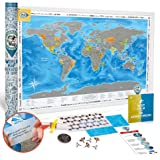 Amazon bucket list world map scratch edition office products scratch off poster world map premium quality large size 24x35 gumiabroncs Image collections