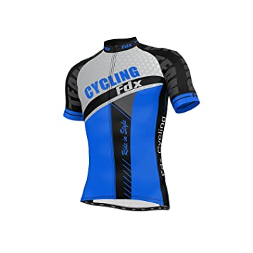 FDX Mens Optimum Cycling Jersey Half sleeve Top Breathable Outdoor Biking  TShirt (Blue 5afefed60