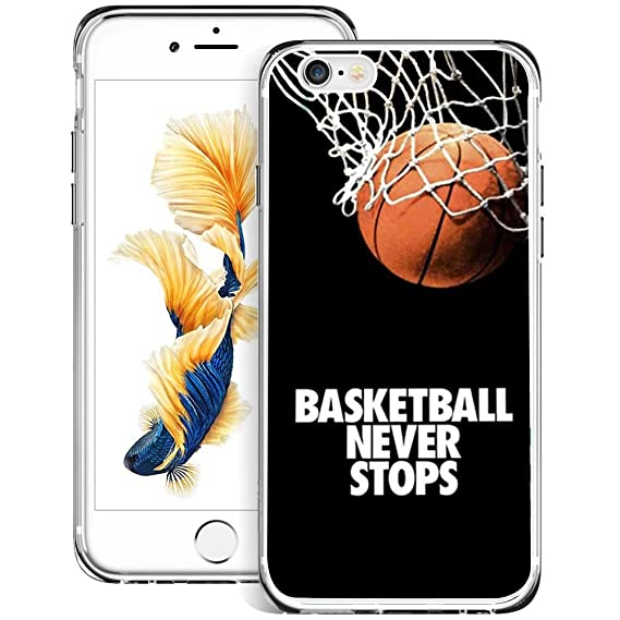 low priced e97a1 ff00d Amazon.com: Basketball Never Stops iPhone 6s 6 Case Clear, By ...