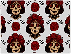 imobaby Oil Painting on Canvas Santa Muerte calavera Skull with Red Roses Prints with Wooden Frame for Bedroom Home Living Room Office Modern Wall Art Decor, 11.8x19.6 in