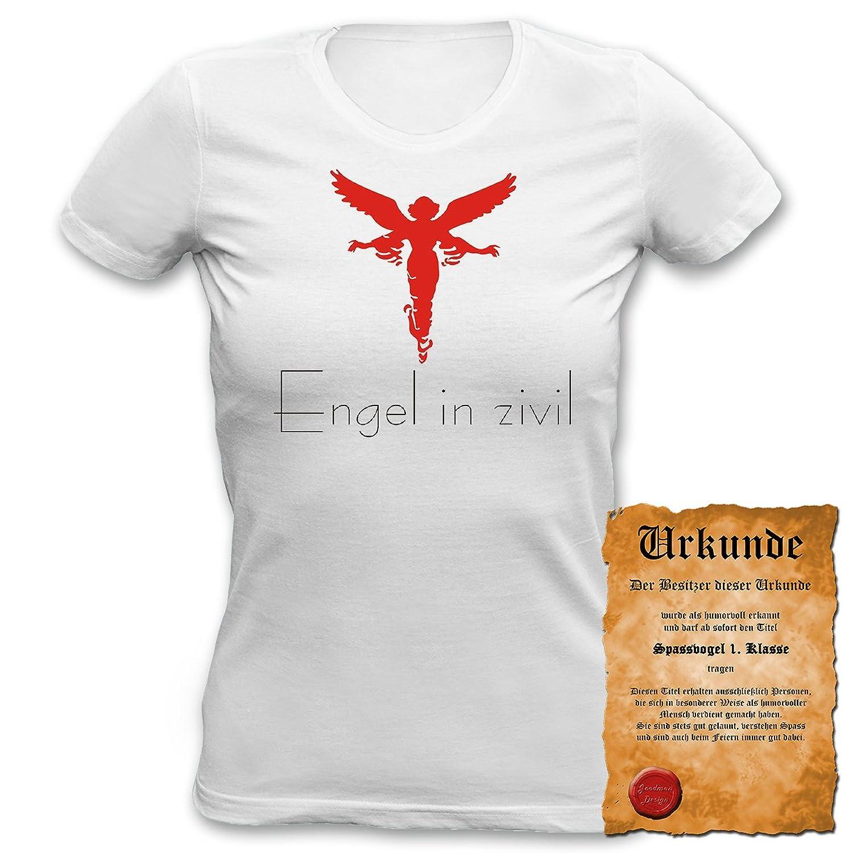 Fun T-Shirt 4 Girls ::: Engel in zivil! ::: Damen Top mit Urkunde