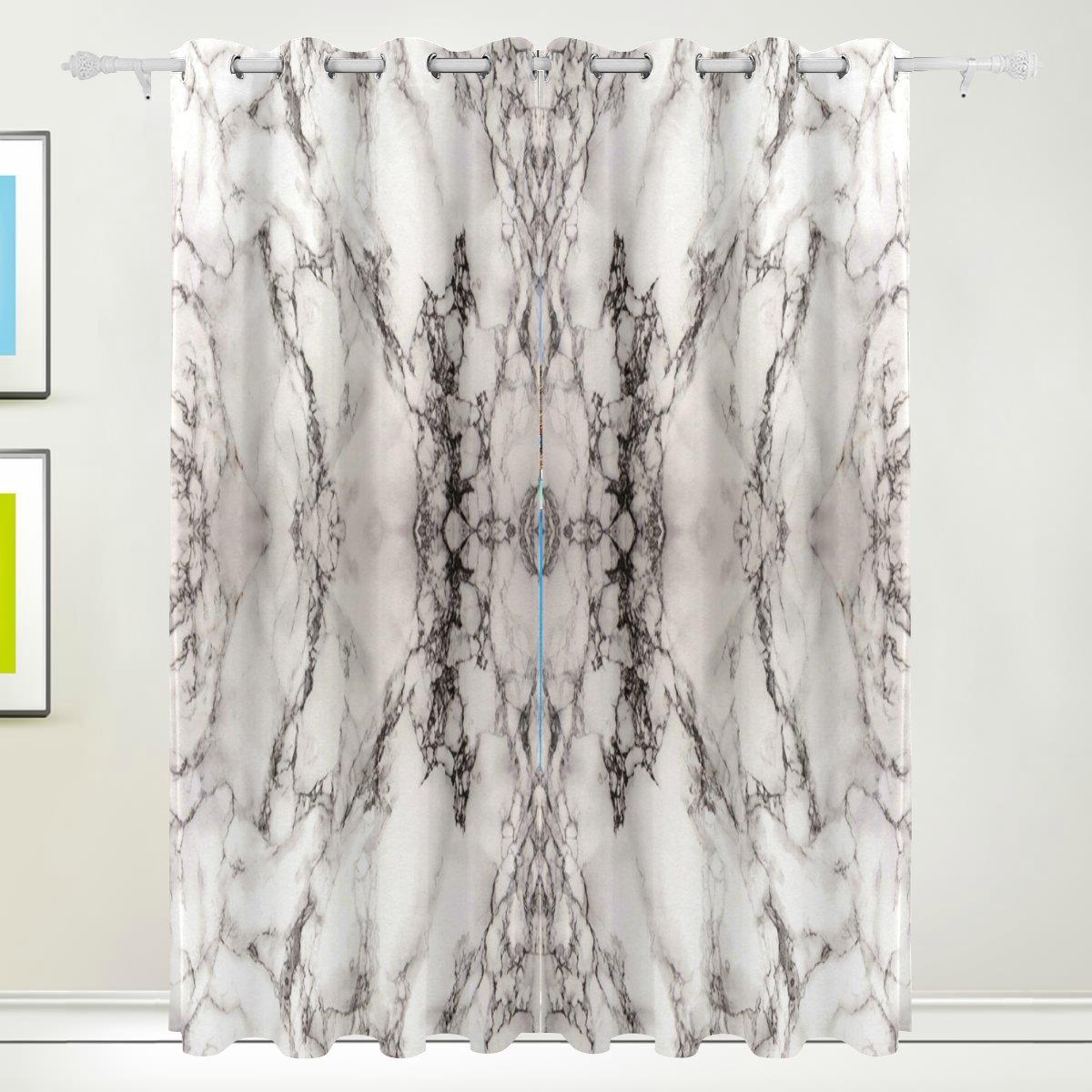 FFY Go Fenster Vorhang, 2Felder Luxus MARMOR Print Thermo-Isoliert Dicke Polyester-Blackout-Home Decor mit Öse für Schlafzimmer Wohnzimmer Badezimmer Küche 213,4x 139,7cm