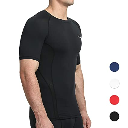 6675354106c7d COOLOMG Men s Compression Top Baselayer Short Sleeve T-Shirts Sport Tight  Shirts Cool Dry Black