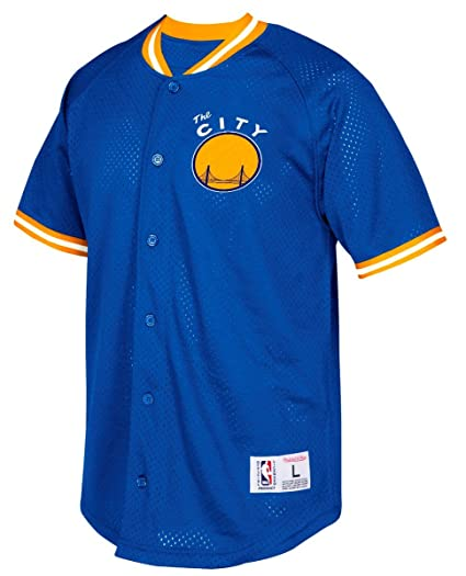 464cea1cb09 Amazon.com : Golden State Warriors Mitchell & Ness Seasoned Pro Men's Button  Up Jersey Shirt : Sports & Outdoors