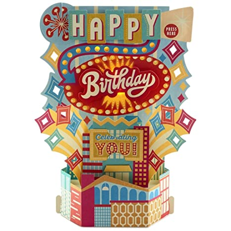 Image Unavailable Not Available For Color Hallmark Wonderfolds Celebration Musical Light Up Pop Birthday Card