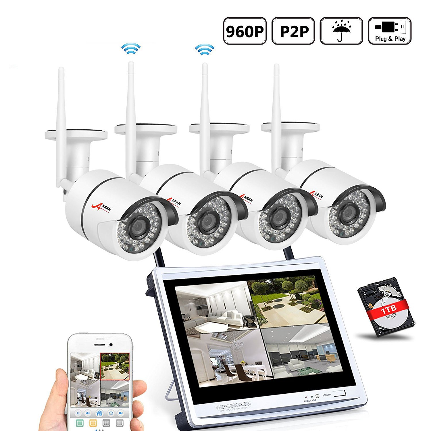 ANRAN 4CH 960P Wireless Home Security System 1080p 12inch LCD Monitor DVR NVR Surveillance Kit, 4pc 1.3MP Outdoor Indoor Waterproof Network Bullet Cameras, 1TB Hard Drive Auto Pair, Motion Detection