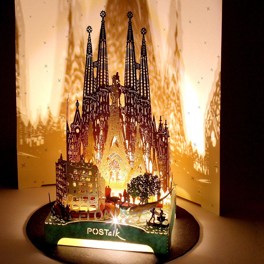 3D Pop Up Greeting Souvenir Cards, POSTALK Barcelona Travel Creative Cards Paper Craft with USB Lighting Module for Birthday, Mother's Day, Wedding, Valentine's Day, Father's Day, Children's Day Gifts by Postalk (Image #1)