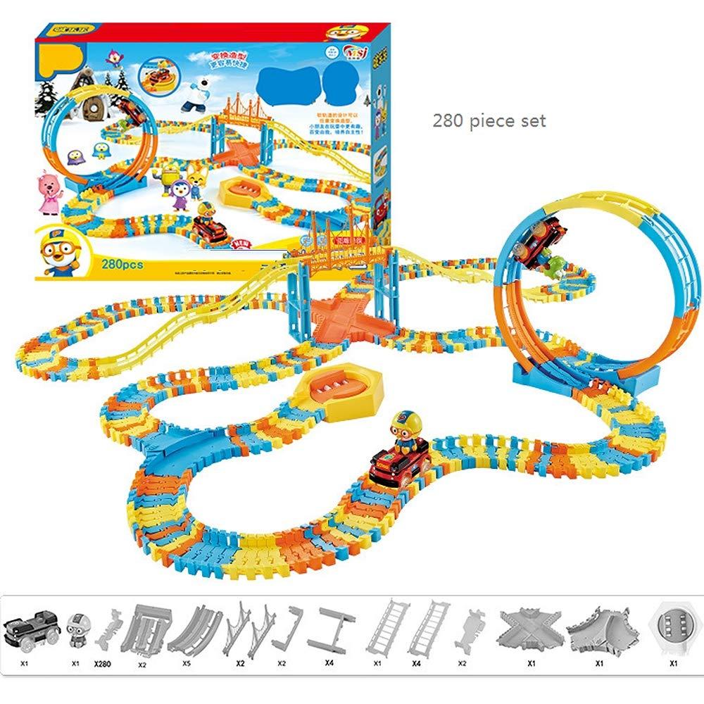 QHWJ Giocattolo del vagone dei Bambini, Treno di Automobile Flessibile Treno educativo di Pista Giocattoli educativi Roller Coaster assemblato a Mano 3-6 Anni,280Pieces