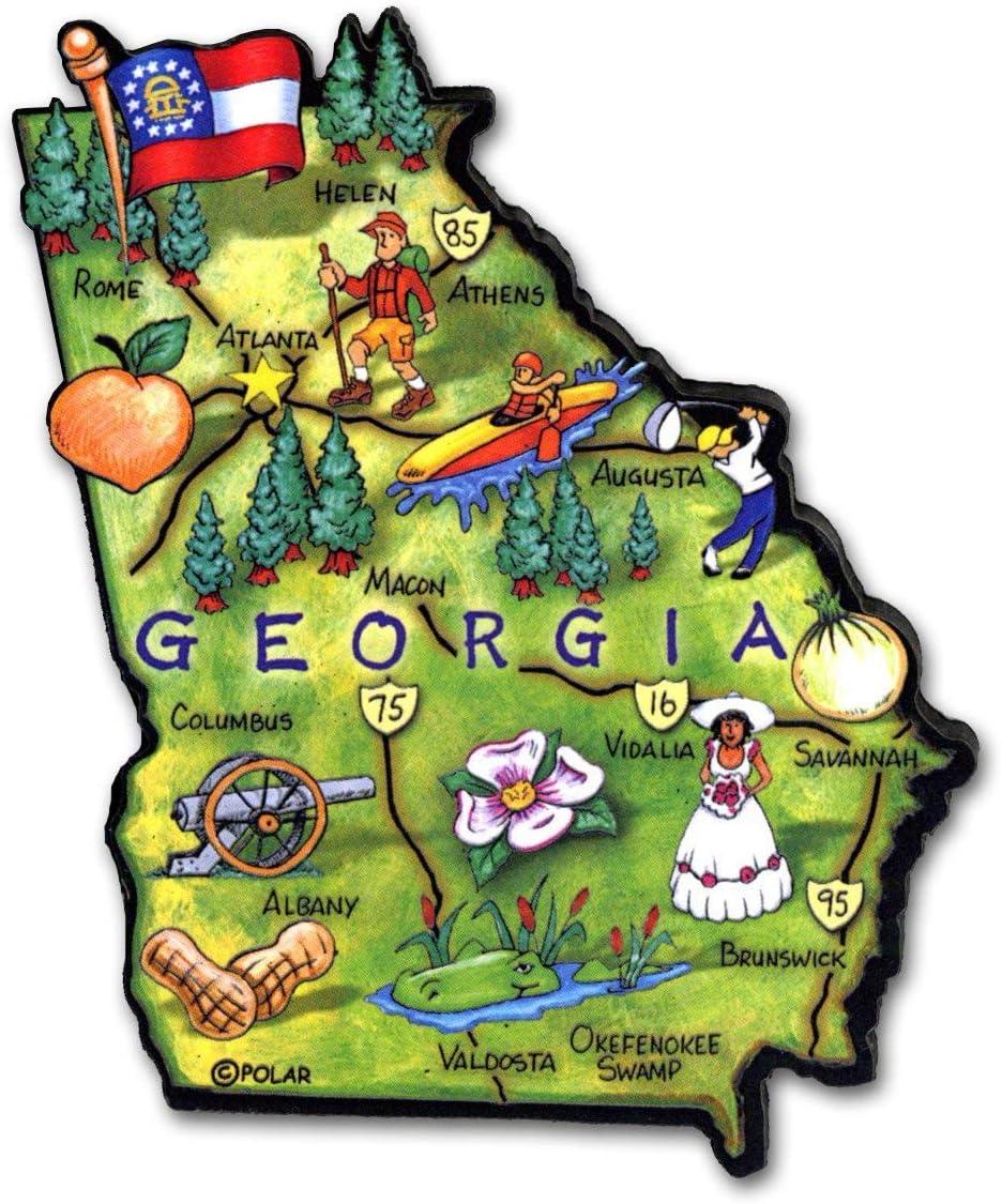 Georgia the Peachtree State Artwood Jumbo Fridge Magnet