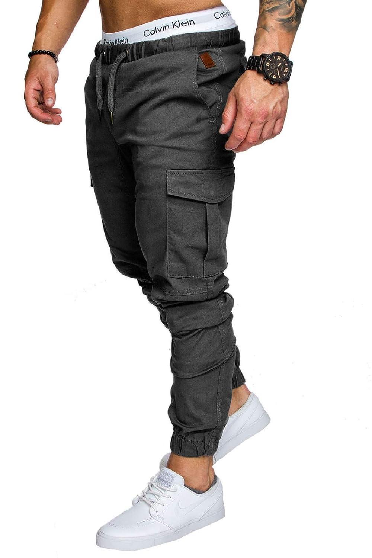 HOMZE Slim Solid Color Pocket Decoration Men Casual Pants Man Trousers Designer Mens Joggers