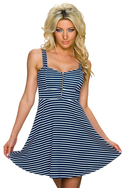 Fashion Damen Träger Kleid Trägerkleid Minikleid im Marine Look gestreift, verschiedene Farben