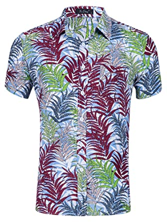 b1d6dacc Musen Men Casual Hawaiian Shirt Button Down Tropical Aloha Beach Shirts  Water Plants Red/Green