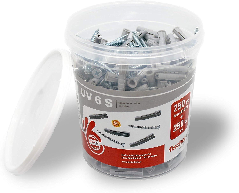 531386 250 Tasselli 250 Viti Fischer UV 6 S Grigio Ideali per Mattoni Pieni e Forati Secchiello con 250 Tasselli con Vite Misura 6 x 30 mm