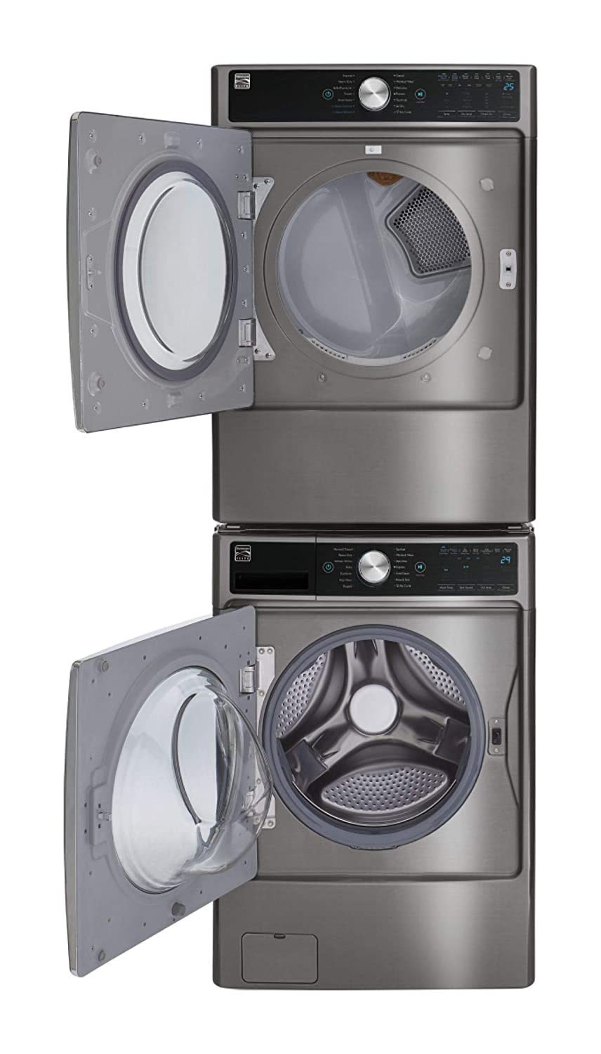Kenmore Smart 7.4 cu. ft. Front Load Gas Washer and Dryer Bundle with Accela Steam -Metallic Silver - Compatible with Alexa.
