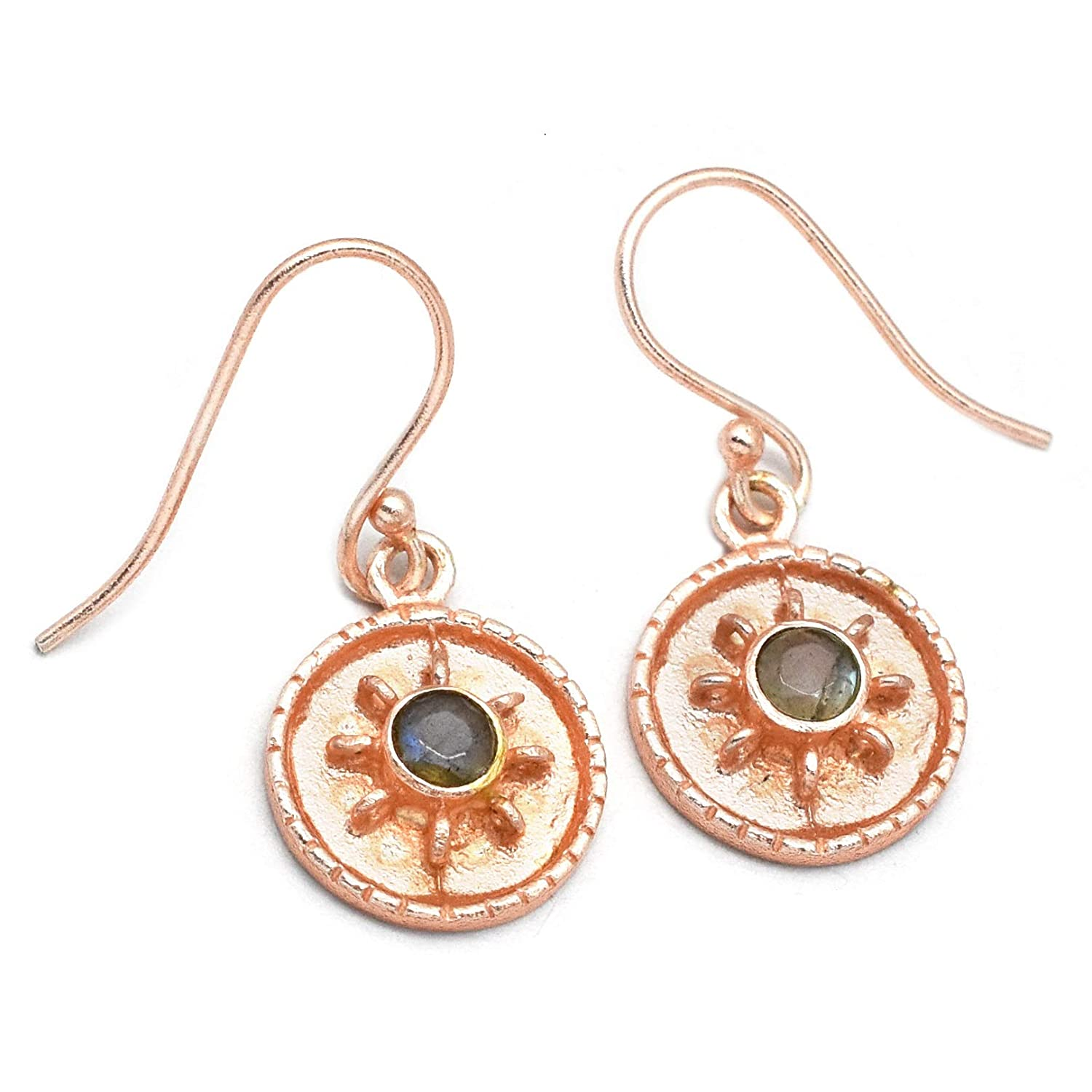 The V Collection earrings rose gold plated labradorite round shape dangling earrings for women and girls