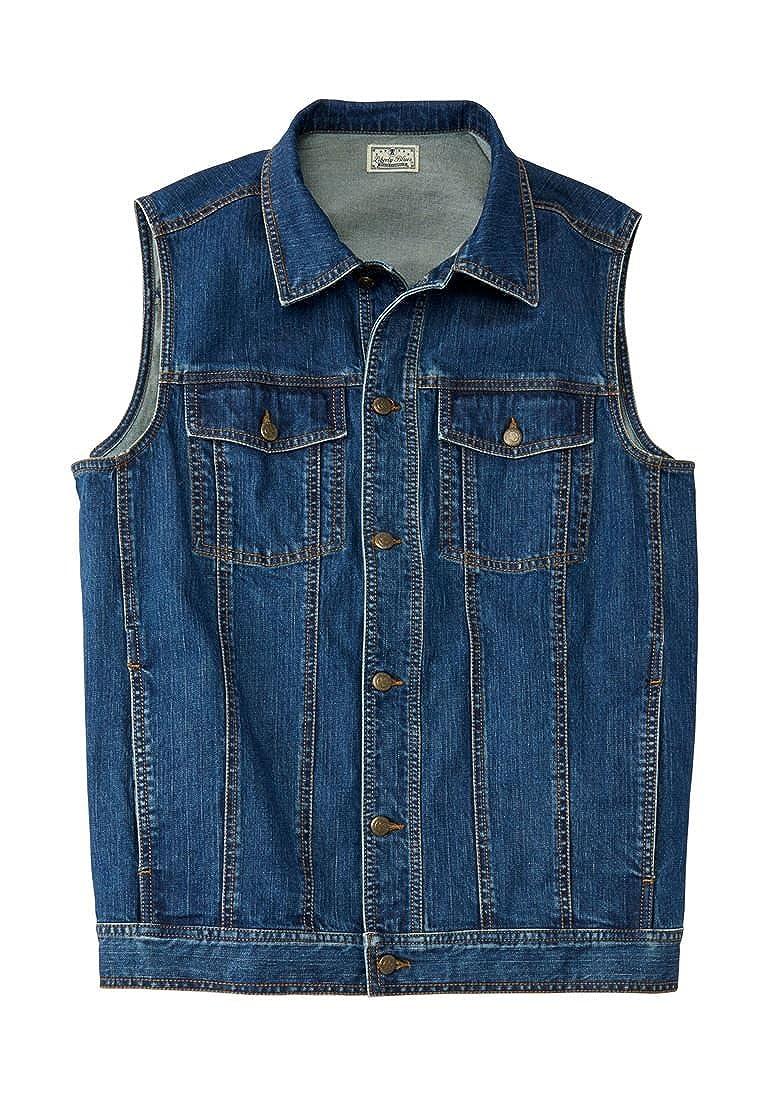 Liberty Blues Men's Big & Tall Button Front Cotton Denim Vest