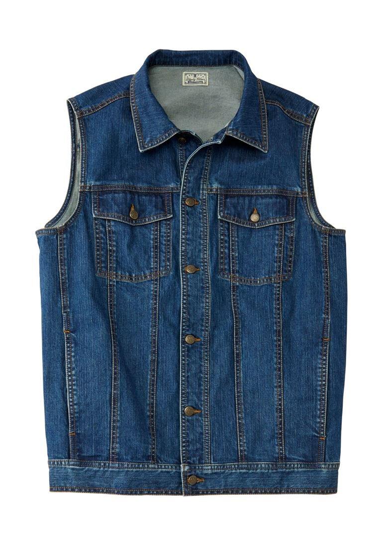 Liberty Blues Men's Big & Tall Button Front Cotton Denim Vest, Blue Wash
