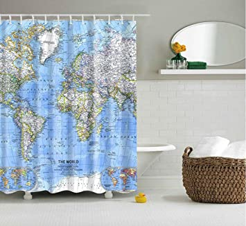 Amazon ISEAREX World Map Polyester Fabric Shower Curtain
