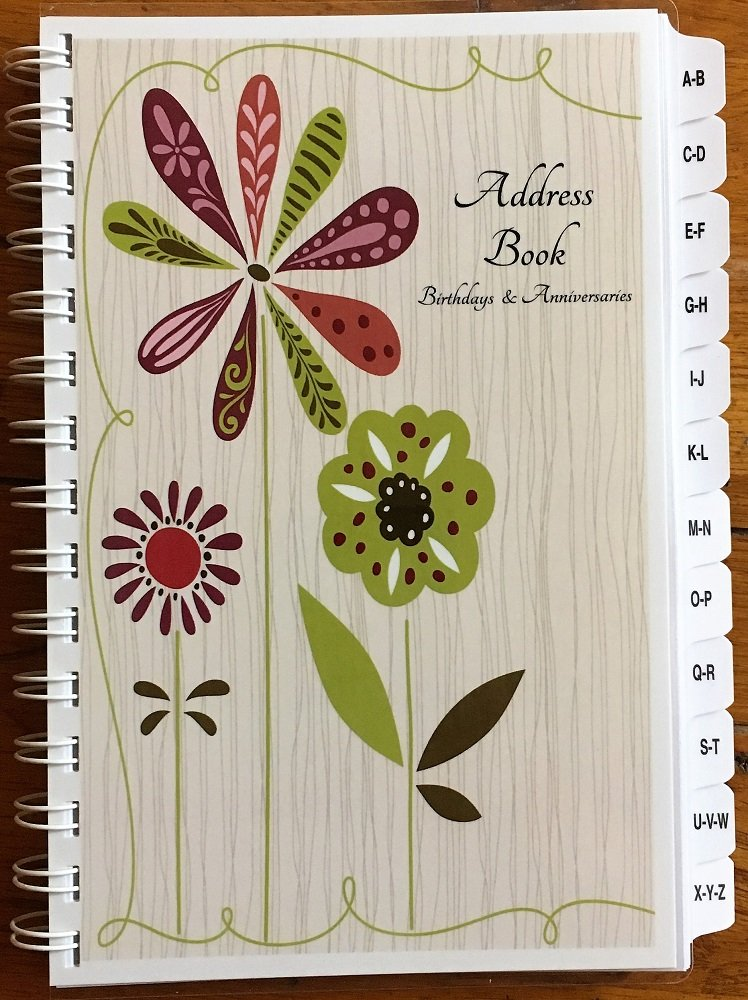 Large Print Address Book with A-Z Tabs Birthday Anniversary Calendar Family Record Keeper Personalized Gifts by JDSeals (Image #1)