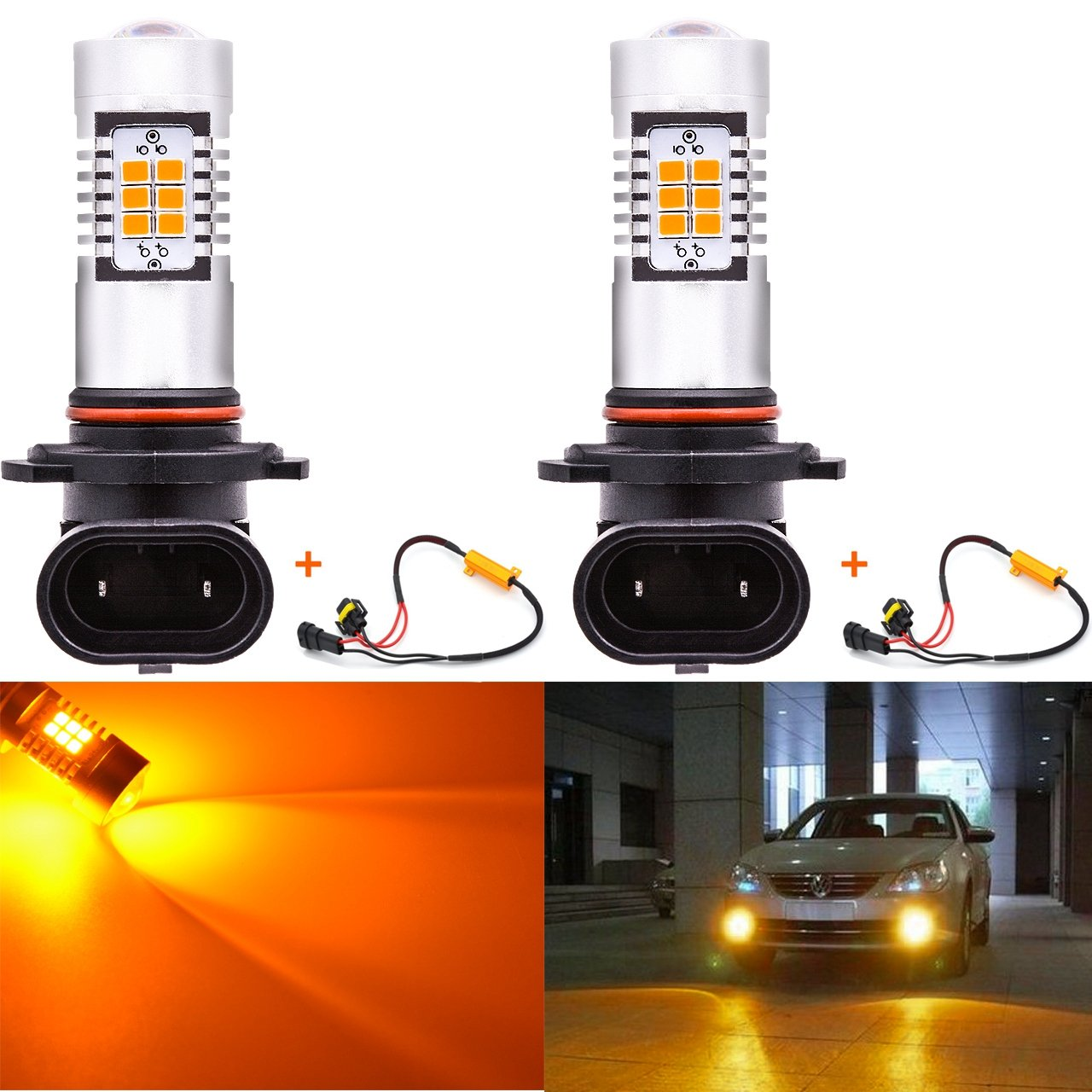 KaTur 7440NA 7441 992 Amber LED Bulbs 2835 42SMD 12V Lens LED Turn Signal Light with Canbus Decoder Error Free 50W 8ohm Load Resistors Harness Set Pack of 2