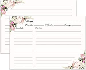 LuBudingJoy Premium Recipe Cards, Set of 40 Double Sided Recipe Cards, 5.83x8.27 inches, Big Size Thick Card Stock(5.83x8.27, Flower)