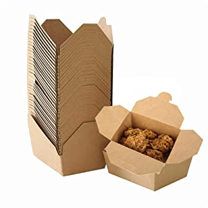 50 Pack Take Out Food Containers, 27 oz Kraft Brown Take Out Boxes,Disposable to Go Containers for Restaurant, Catering and Party