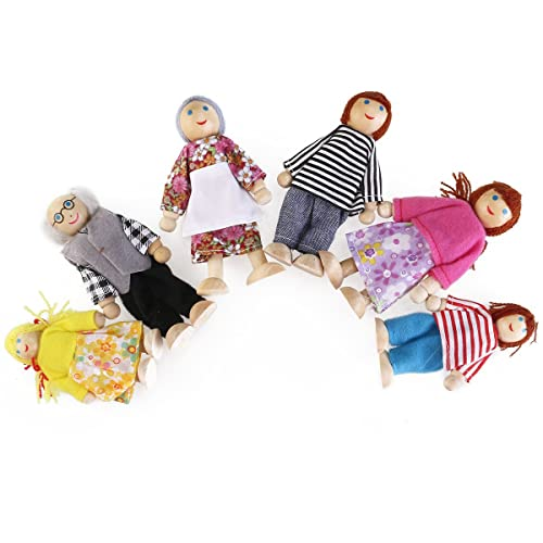 PIXNOR 6pcs Wooden Doll Family Happy Doll Figures Including Grandparents for Kids Fun Role Playing