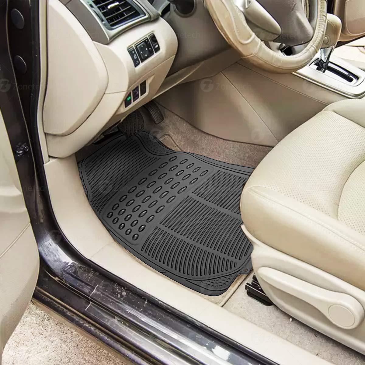 Zone Tech All Weather Rubber Semi Pattern Car Interior Floor Mats 4-Piece Set Gray Heavy Duty Car Interior Floor Mats