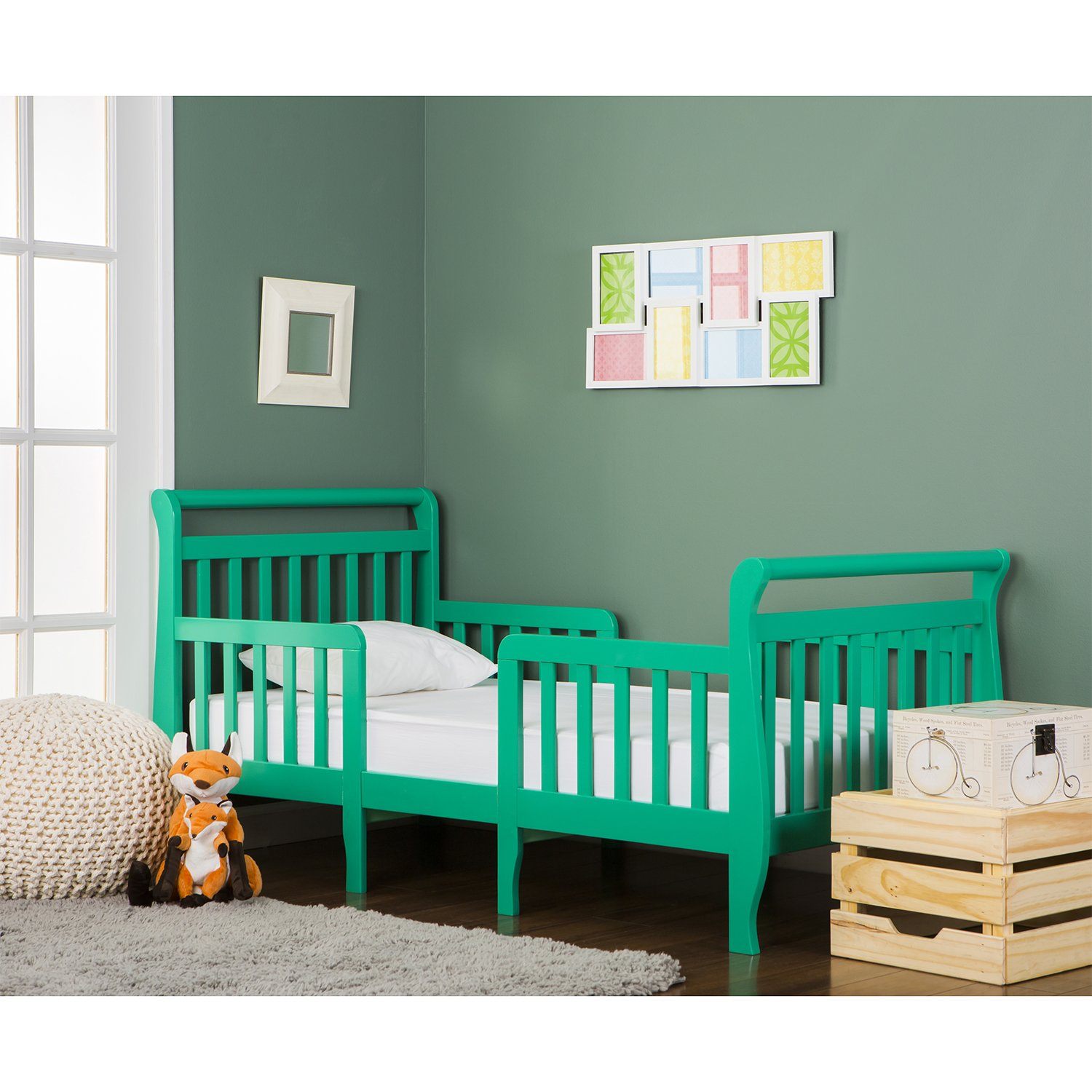 Dream On Me Emma 3 in 1 Convertible Toddler Bed, Emerald