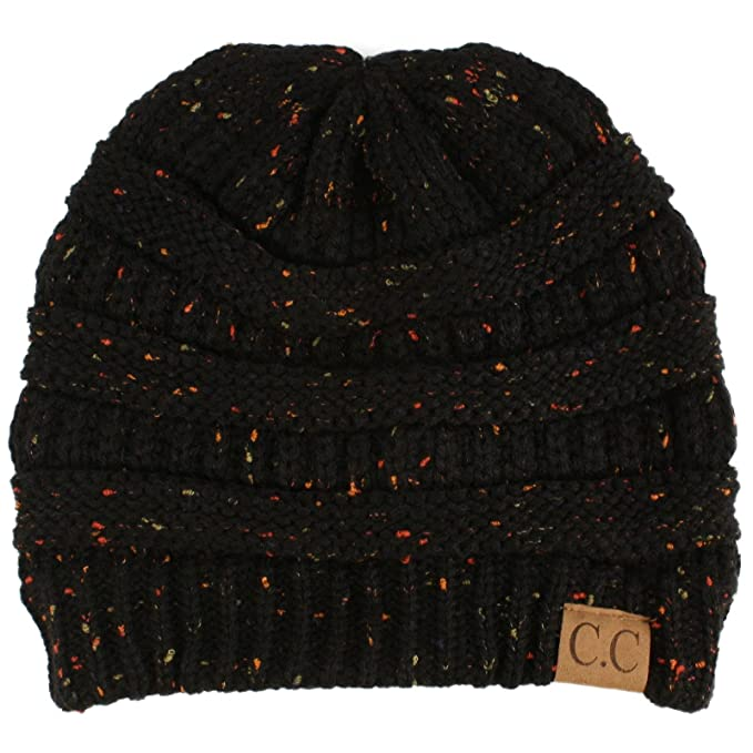 ad5284d6 Winter Trendy Soft Cable Knit Stretchy Warm Ribbed Beanie Skully Ski Hat  Cap Confetti Black