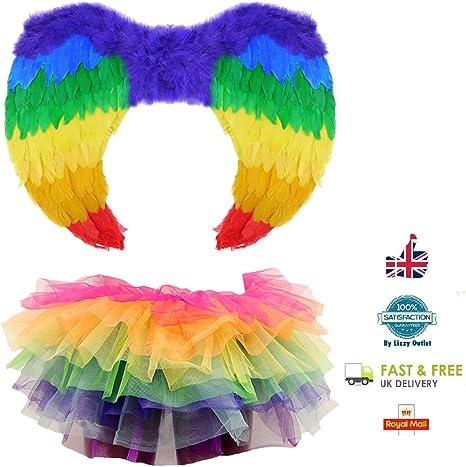 Lizzy® - Disfraz de ángel arcoíris con alas de arco iris – LGBT ...