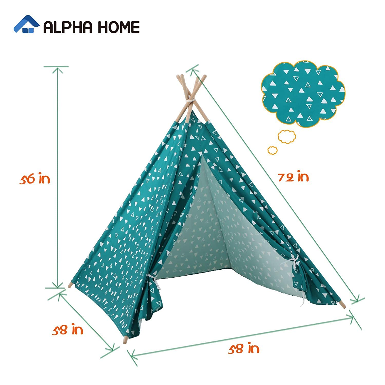 58 x 58 x 56 ALPHA HOME Teepee Tent for Kids Canvas Childs Play Teepee Tent Indoor /& Outdoor with Carry Bag