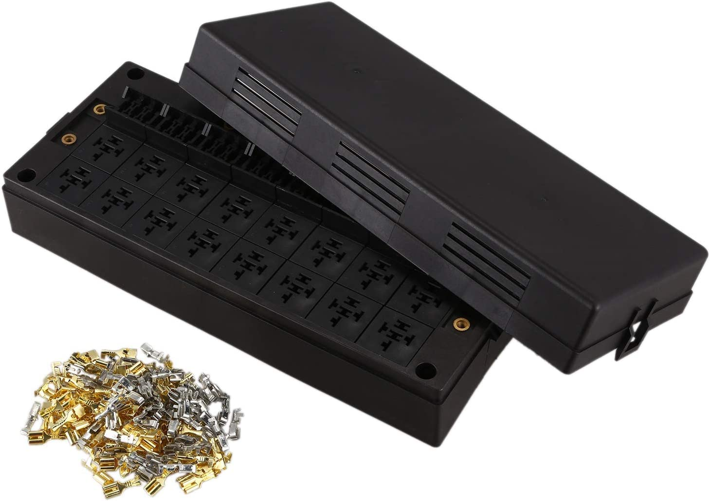 SODIAL 24-Way Auto Waterproof Blade Fuse Holder Box 16-Way Relay Socket Box Dust-Proof for Car Automotive Marine