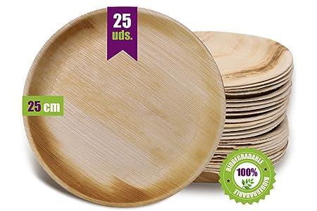 GoBeTree Plato de hoja de palma, 25 platos redondos de Ø25 cm ...