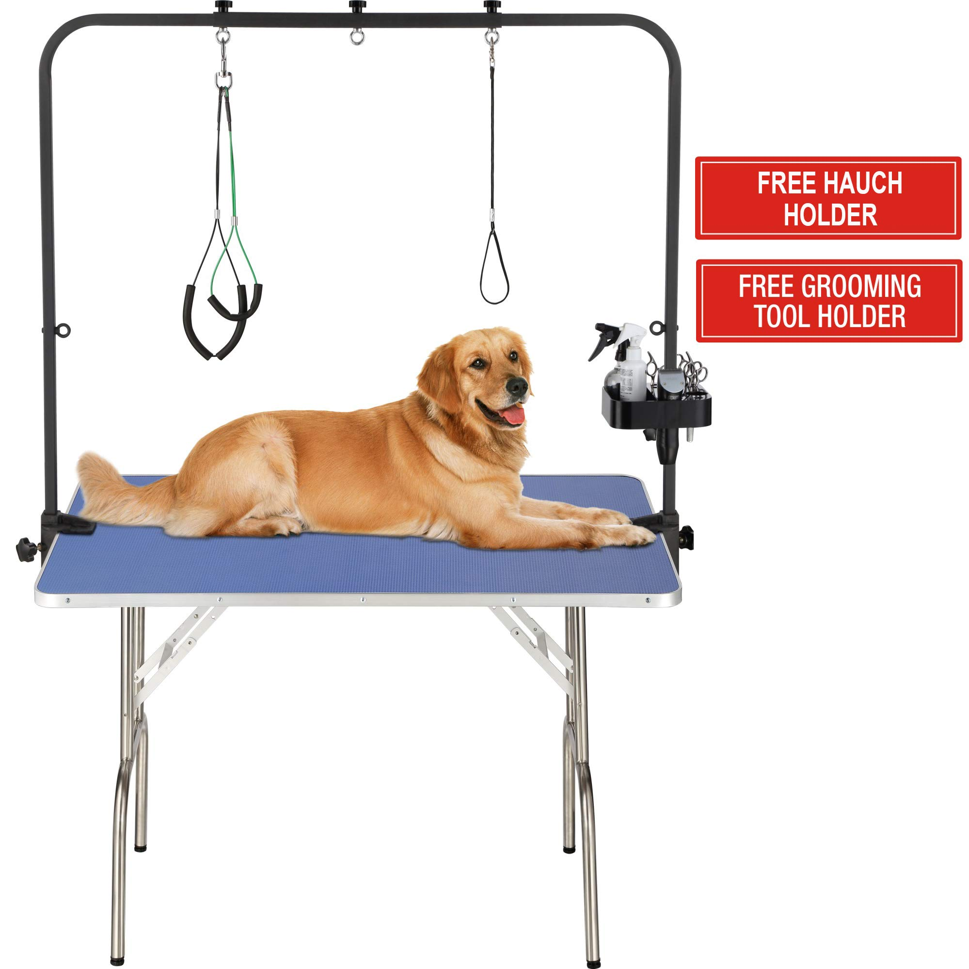 "ITORI 46"" Professional Grooming Table for Dog and Pet which is Foldable and Durable with Adjustable Arm, Stainless Leg Frame, Extra Tool Holder and Extra Hauch Holders"