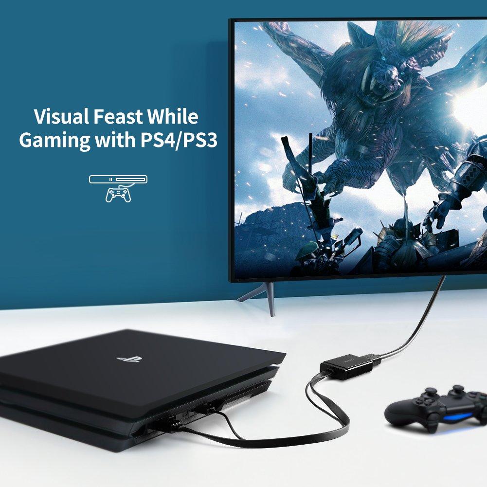 UGREEN C/âble HDMI vers DisplayPort avec Alimentation USB 4K 30Hz 1080P 60Hz Compatible avec PS4 Xbox One Xbox 360 Blu Ray TV Box PC Wacom Cintiq Pro Plaqu/é Or