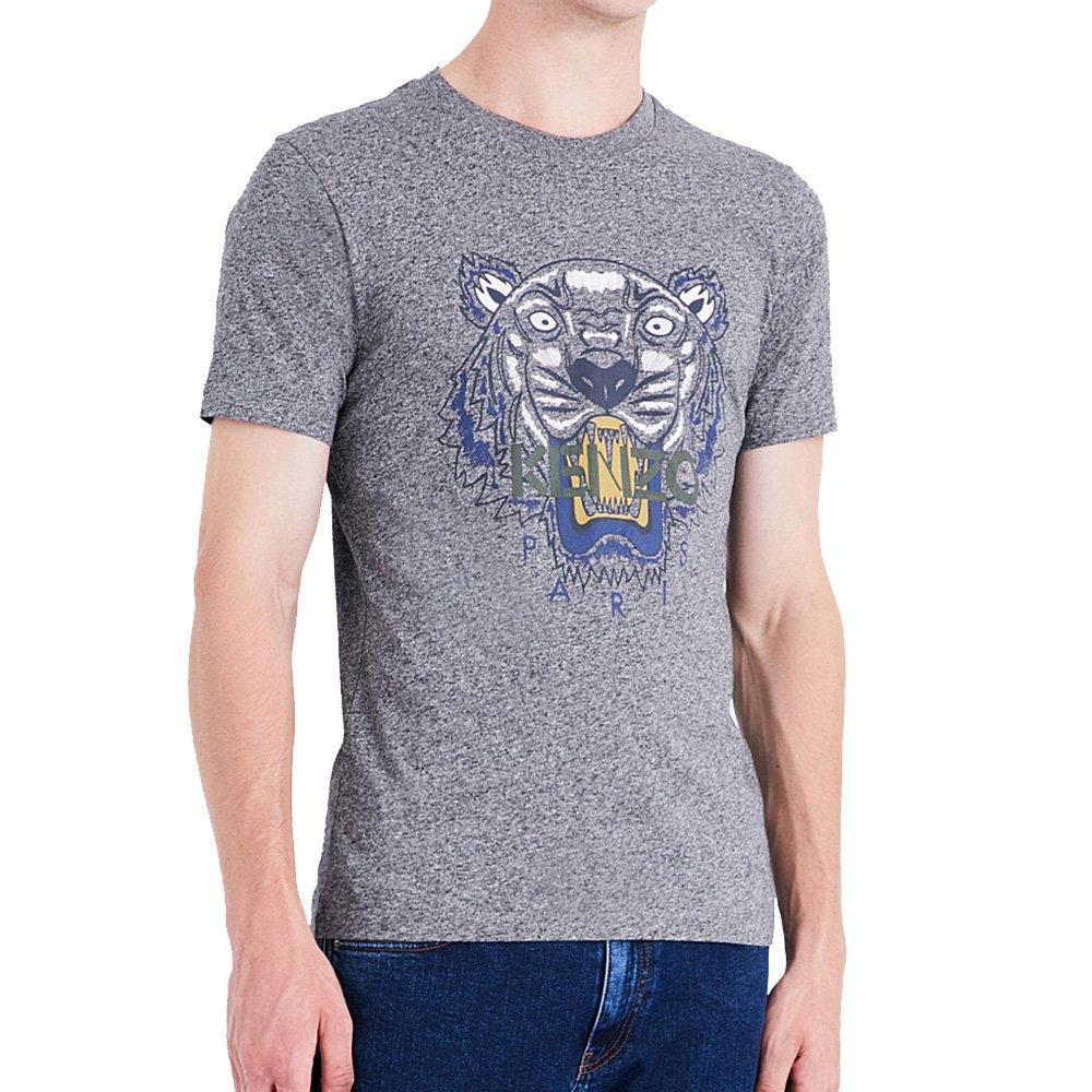 Kenzo Authentic Men's Grey Tiger Head Paris Cotton Tshirt (Large)