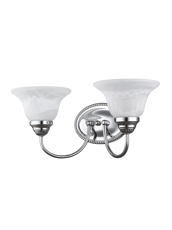 Livex Lighting 1532-91 Edgemont 2 Light Vanity Brushed Nickel with White Alabaster Glass