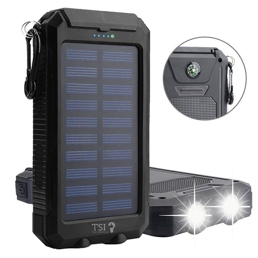 Solar Charger 30000mAh Power Bank Portable Backup Battery Waterproof Panel Charger for Cellphone,Tablet and Most Gadget w/ Dual USB, LED Light, Compass, Hook for Indoor and Outdoor Charging (Black)