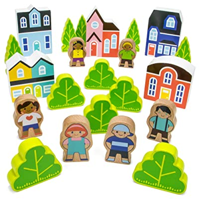 Imagination Generation Blocktown Little Wooden People Play Set, 22 Pieces Including Characters, Houses, Trees and More: Toys & Games