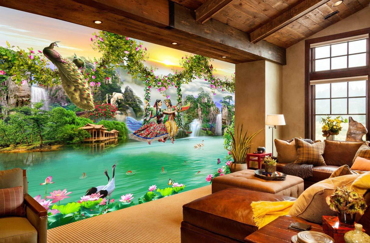 Envouge 3d Wallpaper Radha Krishna On Swing Self Adhesive For Living Room Bedroom Study Room Kids Room Puja Room 3ft X 2ft Amazon In Home Improvement