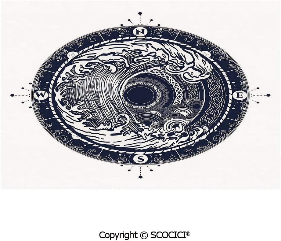 SCOCICI Placemats for Dining Table Stain-Resistant Sea Navigation with a Drawing of Tempest Inside Big Wave Adventure Journey Decorative Ultra-Durable Heat-Resistant Dining Mat