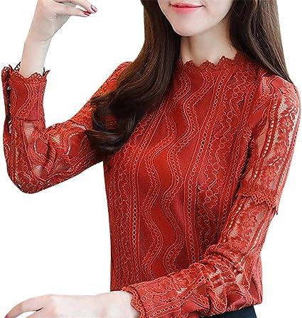 FuweiEncore Blusas y Tops para Mujer Moda para Mujer Oficina de Encaje con Rayas Floral de Manga Larga Camisa Delgada de Trabajo Top Blusa Informal (Color : Naranja, tamaño : Small): Amazon.es: