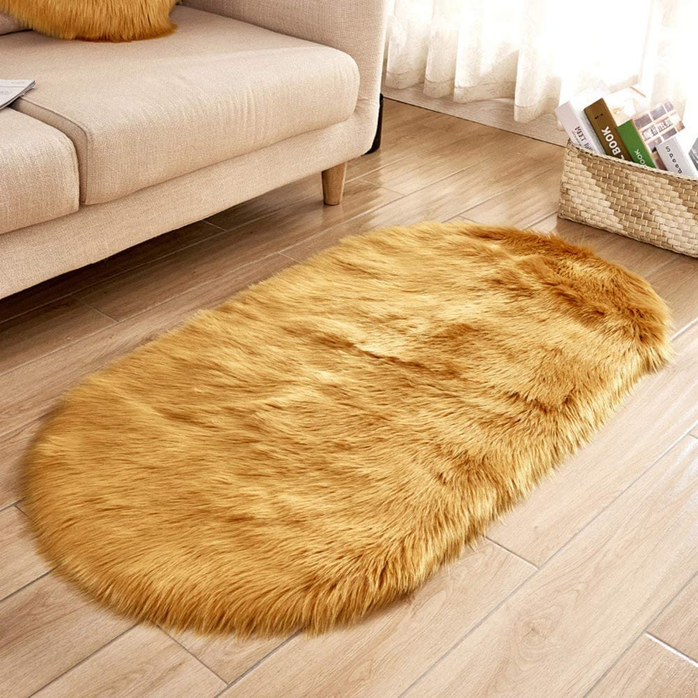 Area Rug Oval Faux Fur, Faux Sheepskin Fur Plush Carpet Anti-Slip Shaggy Bedside Rugs Nursery Carpets for Living Bedroom-Gold 70x150cm(28x59inch)