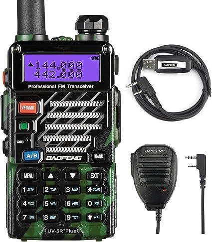 Baofeng de Speaker UV-5R Plus Qualette Serie Dual Band VHF/UHF radioaficionados Walkie-Talkie pantalla LCD walkie talkie 128 Canales de camuflaje con micrófono y cable USB: Amazon.es: Coche y moto